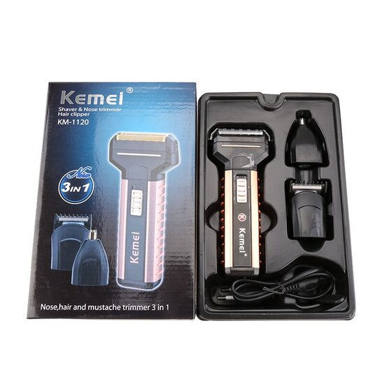 Kemei-3-In-1-Electric-Shaver-Beard-Nose-Hair-Trimmer